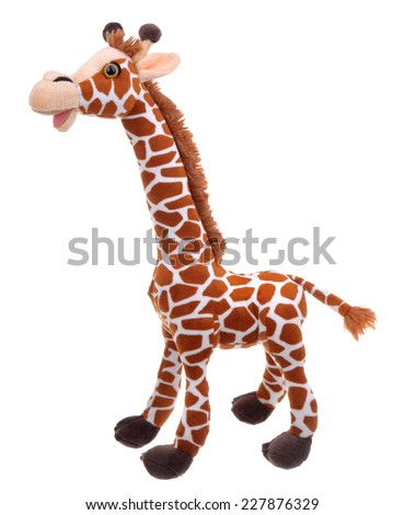 giraffe soft toy isolated on white - stock photo
