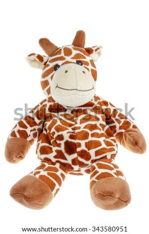 Giraffe soft toy on white - stock photo