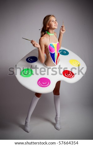 girl - a palette. - stock photo