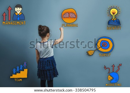 girl adolescence turned wrote marker word rear view of a collection of business icons management team goal sketch - stock photo