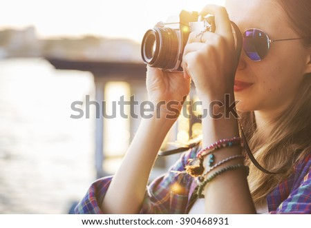 Girl Adventure Hangout Traveling Holiday Photography Concept - stock photo