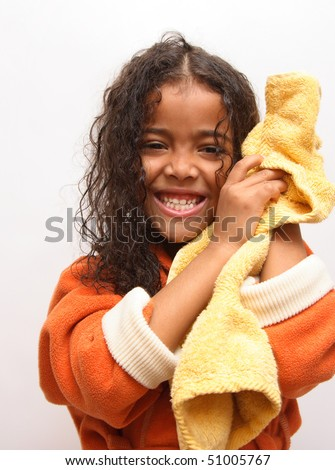 girl after bath - stock photo