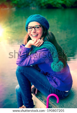 girl after rain in a park - stock photo