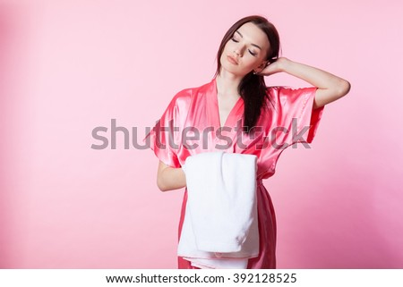 girl after Spa clean female skin skincare - stock photo