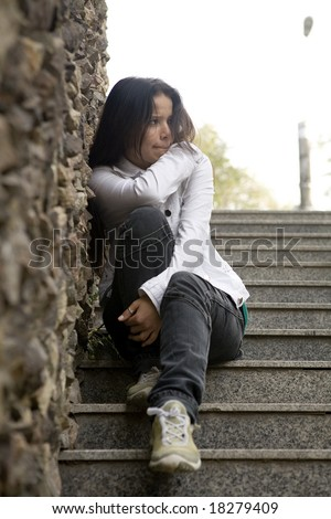 Girl alone, problems - stock photo