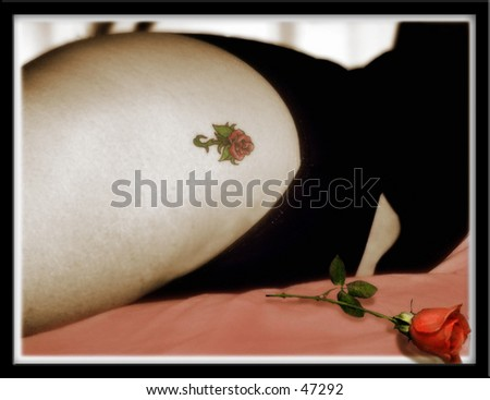 Girl and a rose - stock photo