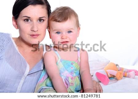 Girl and baby - stock photo