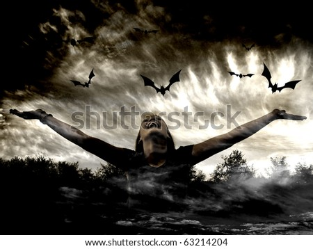 Girl and bats - stock photo