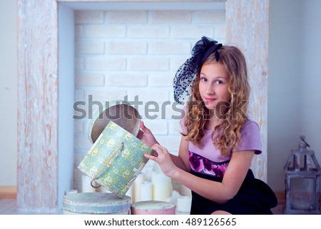 girl and boxes