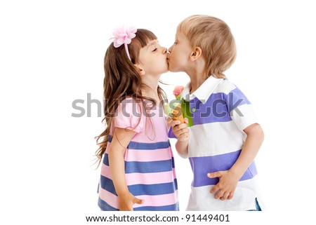 girl and boy are kissing with ice cream in hands isolated - stock photo