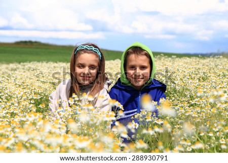 girl and boy in camomille field as nice spring photo - stock photo