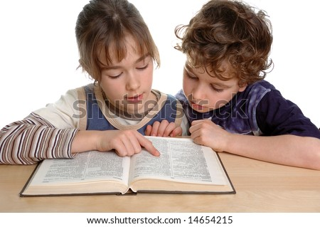 Girl and boy learning