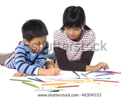 Girl and boy learning on white - stock photo