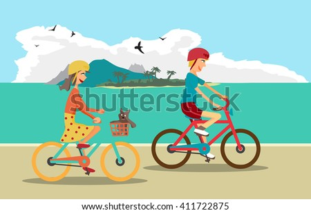 Girl and boy ride the bike on the beach. Healthy leisure and freedom riding bike. Boy and girl in a bicycle helmet pedaling on summer time. Sea shore in summer time. Flat color illustration - stock photo