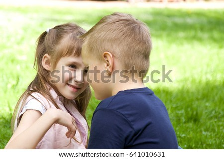 girl and boy small children spend time in nature relationships between children - Small Children Images