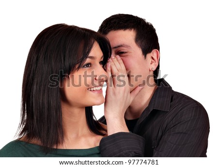 girl and boy sweet whispering - stock photo