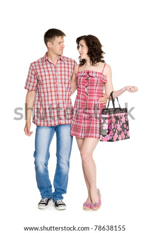Girl and boy walking together. Isolated on white. - stock photo