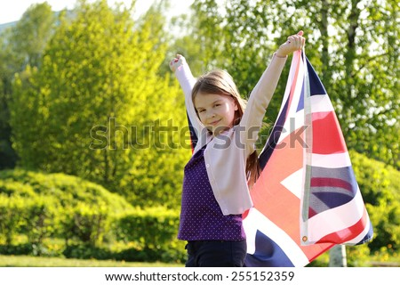 girl and British flag - stock photo