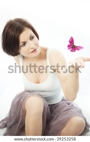 Girl and butterfly - stock photo