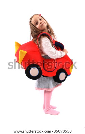 girl and car toy - stock photo