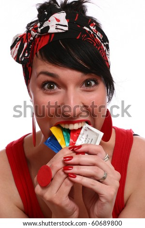 girl and condom isolated on white - stock photo