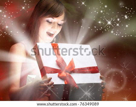 girl and gift - stock photo