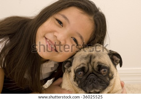 Girl and Her Pet Pug