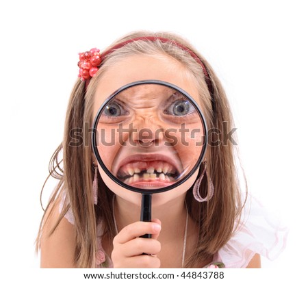 girl and her tooth - stock photo