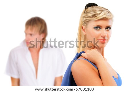 Girl and its beloved, isolated on white background. - stock photo
