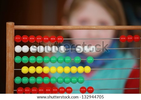 girl and mathematical problem - stock photo
