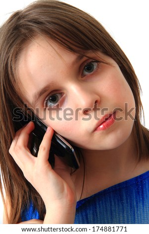 girl and mobile phone - stock photo