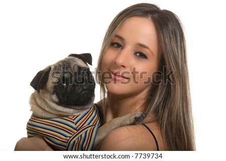 Girl and pug, isolated on white background - stock photo