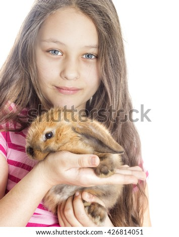 Girl and rabbit on a white background - stock photo