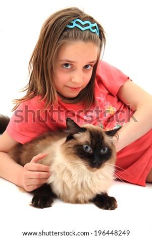 girl and ragdoll cat - stock photo