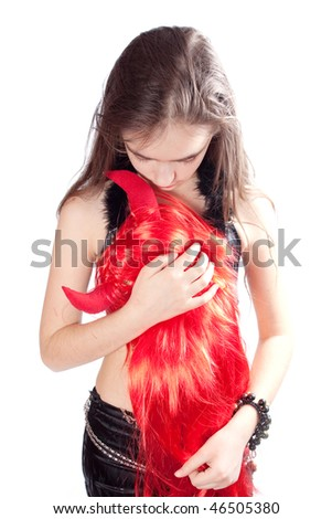 Girl and red hair - stock photo