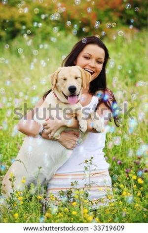 girl and she dog - stock photo
