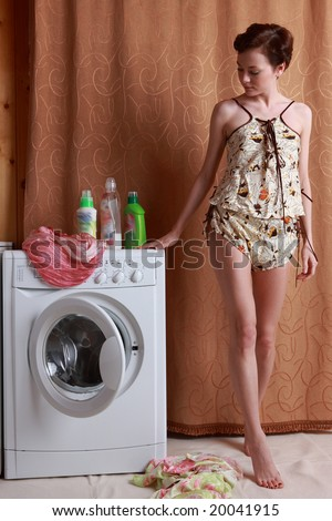 girl and washing-machine