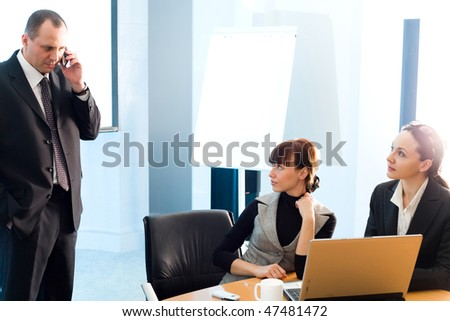 Girl and women with notebook and men with mobile phone