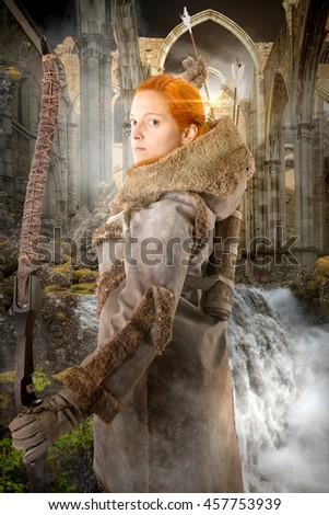 girl archer in a fantasy background with water and ruins