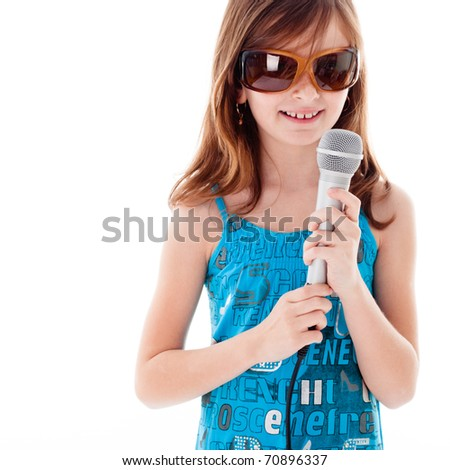 Girl are singing a song. Isolated on white - stock photo