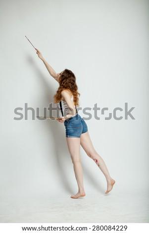girl artist - stock photo
