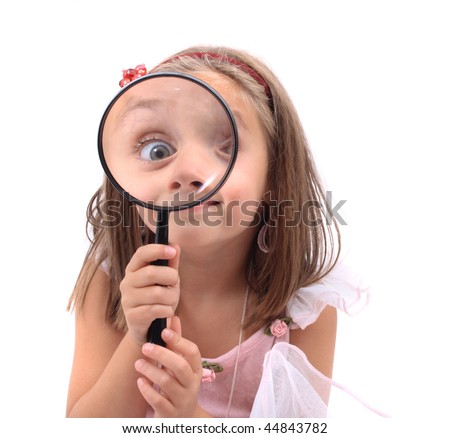girl as young detective - stock photo