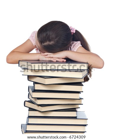 girl asleep on a book pile over white background - stock photo