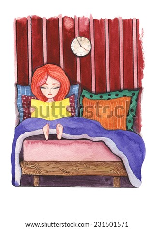 Girl at night sitting up in bed reading a book watercolor painting on white background - stock photo