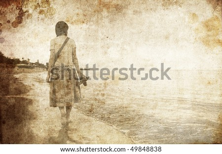 Girl at sea. Photo in old image style.