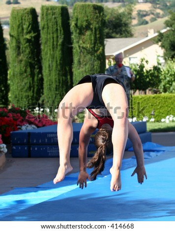 Girl at summer gymnastic camp