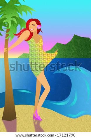 Girl at the beach. - stock photo