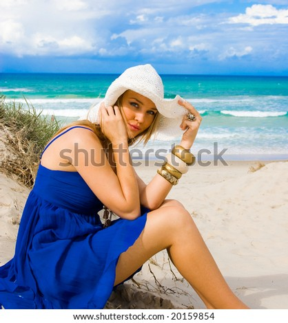 girl at the beach - stock photo