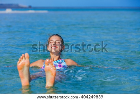 Girl At The Dead Sea, Israel. - stock photo