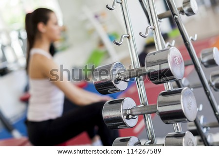 Girl at the gym - stock photo